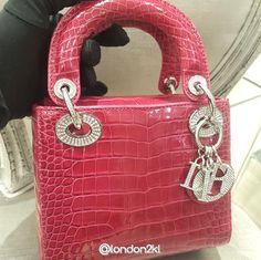 Mini Lady Dior in Croc in Pink