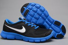 Blue and black Nike shoes