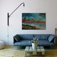 Sunset or flames. the horizon never disappoints ! From afar-Palette knife original fine art deep edges oil painting. Back Painting, Painting Edges, Palette Knife, Acrylic Paintings, Deep, Oil, Fine Art, Texture, Free Shipping