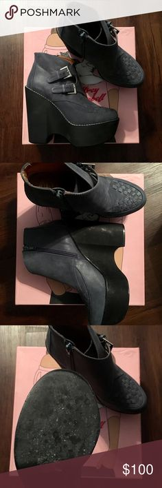Jeffrey Campbell Busted Platform Booties Sz 40 ✨✨BRAND FREAKING NEW!✨✨ Never worn outside, only once for a photo shoot indoors. Beautiful condition wedge bootie, deep navy suede featuring a buckle strap accents and woven toe detailing. Chunky cutout platform, zip closure at ankle. These have been kept in the original box with original tissue paper. Flawless and ready for a happy home. Jeffrey Campbell Shoes Platforms