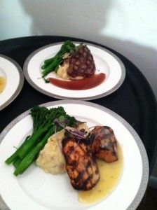 Charleston, SC Wedding Catering | Entree Duo: Herb Grilled Chicken and Filet Mignon with Garlic Roasted Mashed Potatoes and Sautéed Broccolini | B. Gourmet Catering | www.bgourmetcatering.com | Rentals: EventWorks | Venue: Magnolia Plantation Veranda