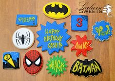 Batman and Spiderman Sugar Cookies by www.SeahorseSweets.com  Kapow!
