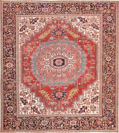Click to view this are Square Size Persian Antique Heriz Serapi Carpet 47501. This rug is offered by Nazmiyal Collection in New York City.