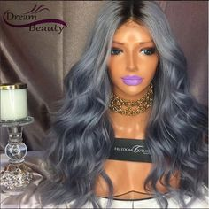 173.40$  Buy here - http://alisdi.worldwells.pw/go.php?t=32792268451 - T1b/Grey Ombre Human Hair Wigs 130% Density Wavy Full Lace Wigs Middle Part Grey Ombre Front Lace Wigs With Baby Hair