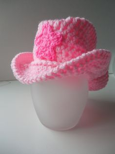 Cowboy Pink Hat  Cowgirl Hat Baby Photo Prop by ShelleysCrochetOle