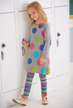 From CWDkids: Multi Dot Sweater Dress & Stripe Leggings with Flowers