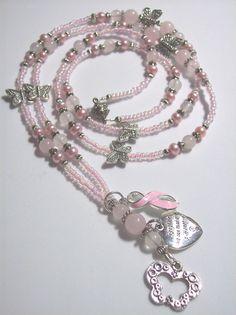 Rose Quartz Breast Cancer Lanyard | by nelipot46350