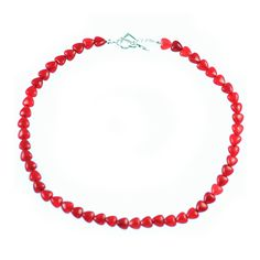 RED DYED QUARTZ HEART NECKLACE    Red dyed quartz and sterling silver necklace.    Love hearts that work particularly well with neutral and red garments.  ...  Colour: Red    Size: 43cm    £57.00     http://www.gemjewelleryshop.com/product-information/36/380/red-dyed-quartz-heart-necklace/See More