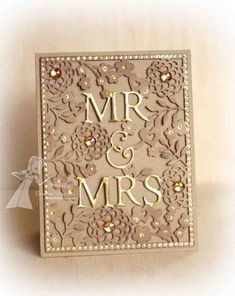 #papercraft #wedding ideas Wedding card drop  the Mr & Mrs , add embossed heaert