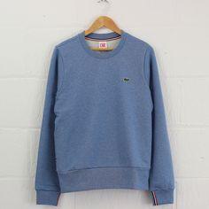 Lacoste Live Crew Neck Tipped Cuff Sweatshirt (Sky) #lacostelive #lacoste #sweatshirt #menswear #newentry