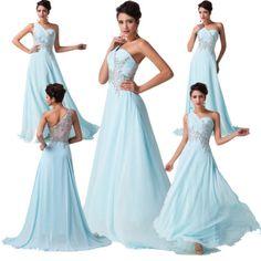 Chiffon Ball Gown Evening Party Dress Bridesmaids Formal Dress Long Maxi Dress[Light Blue,6,UK]