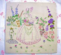 Crinoline lady embroidered picture