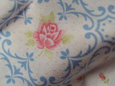 Vintage French Fabric Pink Roses Rosebuds by mamaisonfrancaise, €12.00