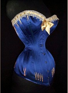 Blue corset with gold ribbon trim. Belongs to the world's tight lacing record holder. Red Satin Dress Short, Blue Satin, Purple Corset, Vintage Corset, Victorian Corset, Underwear, Sexy Corset, Overbust Corset, Silk Stockings