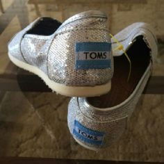 Silver Glitter TOMS Brand new never worn. Size Y3 TOMS Shoes