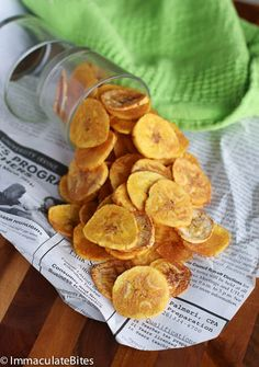 baked plantain chips. i hate the fried ones you buy in the african and asian stores. this looks yummy.