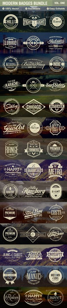 Buy Modern Badges Bundle by creativesole on GraphicRiver. Description 50 Modern Badges that can be used as logos, stamps, posters, banners etc. These Badges are vector an. Badge Design, Icon Design, Logo Inspiration, Lettering Design, Branding Design, Badge Logo, Vintage Logo Design, Typography Logo, Badges