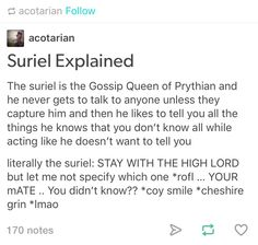 """BUT SINCE THE SURIEL IS OUR FAV GOSSIP GIRL  IMAGINE IF THE INNER SQUAD GOES TO THE SURIEL AND ASKS ABOUT THE CAULDRON OKAY  AND OUR DRESSES HOARDER FUCKER IS LIKE """"if you destroy the cauldron, you destroy what it has created"""" AND IT JUST MOVES IT'S FACE or whatever TO THE SIDE TO CASSIAN AND GOES """"wouldn't it be a shame to lose your mate, commander?"""" AND THEN RUNS LIKE THE FUCKER IT IS"""