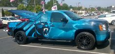 Man Displays Carolina Panthers Fan-hood With Ostentatious Pick-up Truck Derby Cars, National Football League, Carolina Panthers, Pick Up, Monster Trucks, Fan, Display, Vehicles, Pride