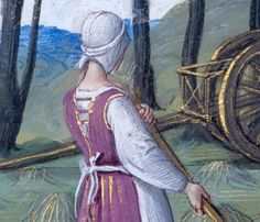 Hours of Henry VIII, Folio Morgan Library online has a great zoomable image, back of 'Flemish hood', tie appears to be separate, which is different to the classic version. And check out that wagon! Medieval Life, Medieval Fashion, Medieval Dress, Medieval Art, Medieval Hairstyles, Tudor Costumes, Asian History, British History, Wars Of The Roses