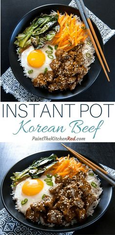 This streamlined recipe for Instant Pot Korean Beef makes for a quick weeknight dinner that tastes great on a bed of rice, accompanied by sauteed vegetables, pickled carrots, Kimchi, and a fried egg on top. From Paint the Kitchen Red #instantpot #koreanbeef