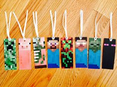 Minecraft bookmarks - free printable available at Mine Craft Party, Minecraft Crafts, Free Minecraft Printables, Minecraft Activities, Minecraft Birthday Party, Boy Birthday, Minecraft Party Favors, Birthday Ideas, Bookmarks