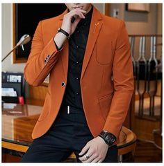 Orange Blazer Outfits, Casual Blazer, Blazers For Men Casual, Blazer Outfits Men, Mens Fashion Blazer, Suit Fashion, Casual Outfits, Mens Party Wear Blazers, Mens Blazer Styles