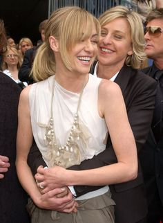 Pin for Later: Ellen DeGeneres and Portia de Rossi Have the Look of Love Down Portia got a hug from Ellen on the red carpet at the April 2006 Emmys. Ellen Degeneres And Portia, Ellen And Portia, Portia De Rossi, Lesbian Love, John Cena, Looking For Love, Celebs, Celebrities, Famous Faces