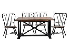 Baxton Studio Longford DARK-WALNUT Wood and Black Metal Vintage 7-Piece Dining Set CDC271