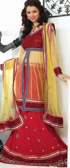 $108.19 Red Thread Work Wedding Faux Georgette Lehenga Choli  24433