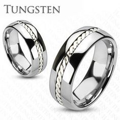 Silver Rope - Get Best Of Both Worlds Tungsten Carbide Ring with Sterling Silver Rope Along The Center. #BuyBlueSteel #Jewelry