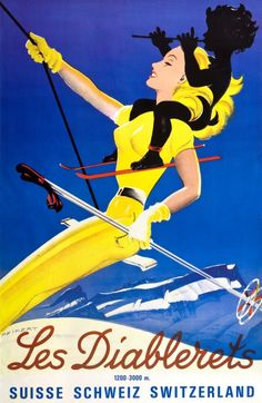 1940s Les Diablerets Ski Poster (Martin Peikert, 1949)  Lithograph in colours printed by Klausfelder S.A., Vevey dated to 1949. This poster was created by Martin Peikert, to promote the Les Diablerets ski resort in Switzerland.