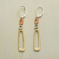 MOD-CENTURY EARRINGS--Gently irregular elements in a mix of metals evoke a Mid-Century Modern aesthetic. Handcrafted copper, sterling silver and brass earrings