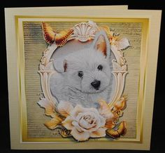 Beautiful Westie With Cream & Gold Roses by Yvonne Middleton Printed on 135 gsm gloss paper, I cut out all of the elements and decoupaged using foam pads, I then mounted the image onto the card using dst This is a cute design.