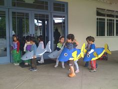 "For school performance of ""Under the Sea"". Fish Costume Kids, Shark Costumes, Diy Costumes, The Little Mermaid Musical, Little Mermaid Costumes, Shark Hat, Baby Shark, Sea Creature Costume, Under The Sea Costumes"