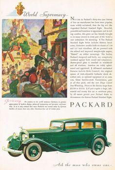 1932 Vintage Packard Standard Eight Car Automobile Art Print AD
