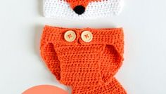 Crochet Baby Hat and Diaper Cover - Cute Fox