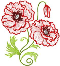 Poppies free embroidery - Flowers free machine embroidery designs - Machine embroidery community