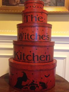 Never too early for Halloween, my vinegar grained painted shakers stacked boxes, are available for sale  &75.00