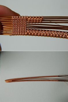 Bracelet wire in a Scandinavian style. Entangling the top four wire, trying to maintain reflectivity. Wire Tutorials, Jewelry Making Tutorials, Diy Bracelets How To Make, Wire Wrapping Tutorial, Copper Wire Jewelry, Bijoux Fil Aluminium, Wire Wrapped Bracelet, Wire Necklace, Wire Weaving