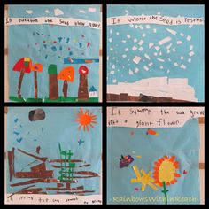 Four Seasons Art construction for Eric Carle's book, The Tiny Seed, kindergarten collaboration bulletin board with student writing Tiny Seed Activities, Spring Activities, Art Activities, Number Activities, Seasons Lessons, Four Seasons Art, Weather Art, Weather Seasons, Weather Crafts