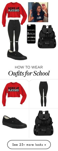"""Yay school"" by love-ida on Polyvore featuring Topshop, Vans and Sherpani"
