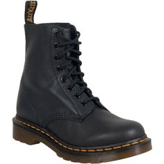 Dr. Martens Pascal Women's Combat Boot ($135) ❤ liked on Polyvore featuring shoes, boots, black, black military boots, lace up boots, black boots, black lace up shoes and black lace-up boots