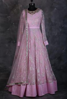 Pink designer indian dress with dupatta - Desi Royale  - 1