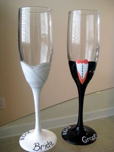 Bride and Groom Glasses by Hand Painted Glassware by Laura wedding-ideas Bride And Groom Glasses, Wedding Wine Glasses, Champagne Glasses, Wedding Champagne, Decorated Wine Glasses, Hand Painted Wine Glasses, Toasting Flutes, Bridal Shower Gifts, Wedding Wishes
