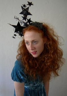 Bright Star headdress - Wired Patent Black Leather star headdress. To Order (smaller and in gold)