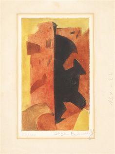 Komposition in Orange, Rot und Schwarz von Serge Poliakoff