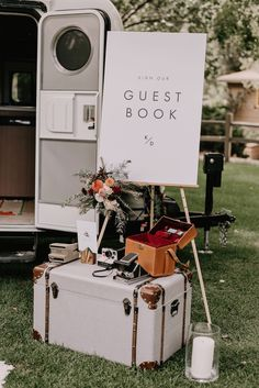 This Botanical Inspired River Bend Lyons, CO Wedding Included a Build-Your-Own Flower Crown Bar Adorable guest book area using a suitcase as a table and Polaroid cameras Laid Back Wedding, Casual Wedding, Our Wedding, Dream Wedding, Fall Wedding, Diy Wedding Bar, Minimal Wedding, Event Planning Guide, Event Guide