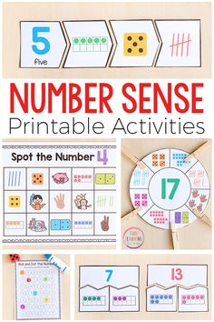 Handson printable number sense activities that you can use in your math centers or guided math groups These math activities build number sense and cover things like count. Number Sense Kindergarten, Number Sense Activities, Math Activities For Kids, Math For Kids, Kindergarten Math, Preschool Math, Preschool Ideas, Writing Numbers, Math Numbers