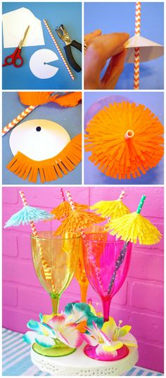 Super cute DIY Tiki Drink Umbrella Straws! Perfect for summer cocktail parties! Quick and easy party craft idea!